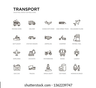 set of 20 line icons such as motorbiking, excavate, airplanes, chopper, zeppelins, station wagon, battleship, high speed train, canoe with row, deliver. transport outline thin icons collection.