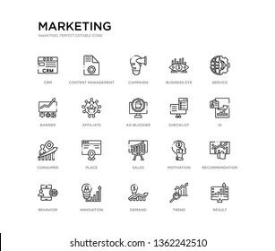 set of 20 line icons such as sales, place, consumer, checklist, ad blocker, affiliate, banner, business eye, campaign, content management. marketing outline thin icons collection. editable 64x64