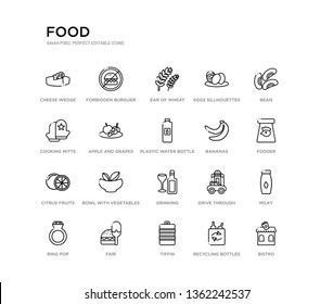 set of 20 line icons such as drinking, bowl with vegetables, citrus fruits, bananas, plastic water bottle, apple and grapes, cooking mitts, eggs sillhouettes, ear of wheat, forbidden burguer. food