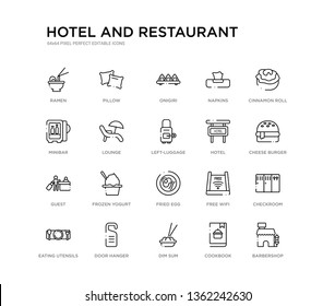 set of 20 line icons such as fried egg, frozen yogurt, guest, hotel, left-luggage, lounge, minibar, napkins, onigiri, pillow. hotel and restaurant outline thin icons collection. editable 64x64