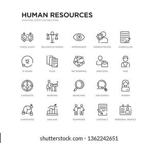 set of 20 line icons such as searching, working, candidate, employee, networking, files, 12 hours, administrator, appearance, balance in human resources. human resources outline thin icons