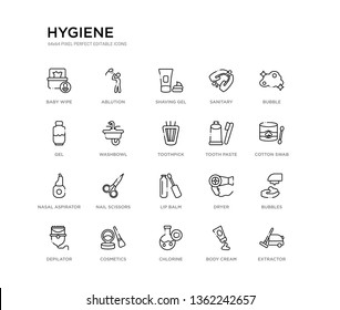 set of 20 line icons such as lip balm, nail scissors, nasal aspirator, tooth paste, toothpick, washbowl, gel, sanitary, shaving gel, ablution. hygiene outline thin icons collection. editable 64x64
