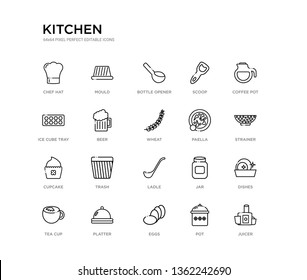 set of 20 line icons such as ladle, trash, cupcake, paella, wheat, beer, ice cube tray, scoop, bottle opener, mould. kitchen outline thin icons collection. editable 64x64 stroke