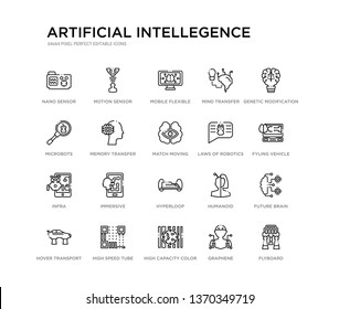 set of 20 line icons such as hyperloop, immersive, infra, laws of robotics, match moving, memory transfer, microbots, mind transfer, mobile flexible display, motion sensor. artificial intellegence