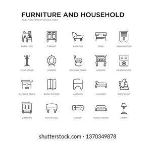 set of 20 line icons such as hassock, room divider, gateleg table, lowboy, rocking chair, mirror, coat stand, desk, bathtub, cabinet. furniture and household outline thin icons collection. editable