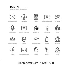 set of 20 line icons such as biju janata dal, ugadi, uttar pradesh, bollywood, durga puja, marathi language, yakshagana, bengali language, vedas, sarnaism. india outline thin icons collection.