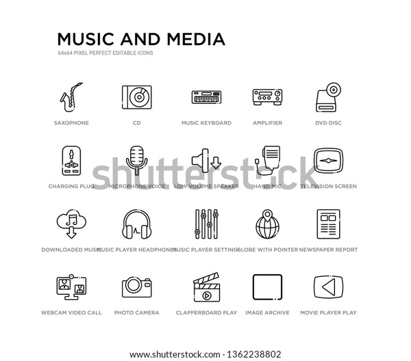 Set 20 Line Icons Such Music Stock Vector (Royalty Free