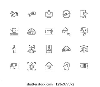 Set Of 20 linear Augmented Reality icons such as Control, Face, Vr, Body, Panorama, Healthcare, Voice control, Tap, Virtual reality, Assistant, editable stroke vector icon pack