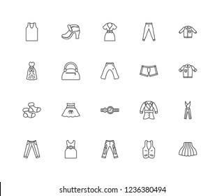 Set Of 20 linear Clothes icons such as Tulle Skirt, Denim Jacket, Shirt, Leggins, Suit Pants, Platform Sandals, Trench Coat, One Shoulder Dress, editable stroke vector icon pack