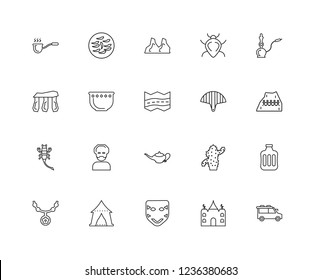 Set Of 20 linear desert icons such as Bus, Mosque, Mask, Tent, Amulet, Hookah, Fan, Lamp, Scorpion, Plate, Stones, editable stroke vector icon pack