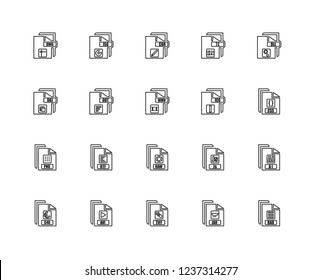 Set Of 20 linear file type icons such as Rar, Jar, Tiff, Avi, C4d, Dll, Ico, Raw, Png, Odt, Cdr, editable stroke vector icon pack