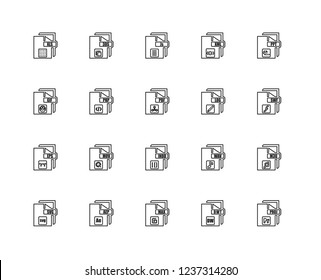 Set Of 20 linear file type icons such as PR, DW, Max, AE, Svg, Ppt, Log, Indd, Eps, Php, Js, editable stroke vector icon pack