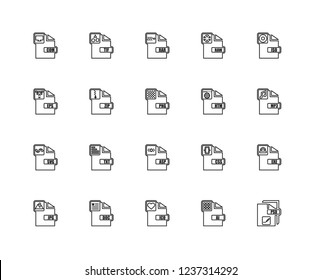 Set Of 20 linear file type icons such as Psd, AI, Ico, Doc, Jpg, Iso, Htm, Asp, Svg, Zip, Rar, editable stroke vector icon pack