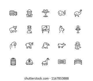 Set Of 20 linear icons such as Bridge, Ticket, Giraffe, Dome, Cage, Cassowary, Alpaca, Eagle, Macaw, Kid, Table, editable stroke vector icon pack