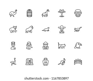Set Of 20 linear icons such as Bridge, Kangaroo, Commerce and shopping, Cage, Ostrich, Gorilla, Guide, Shop, Kid, Giraffe, editable stroke vector icon pack