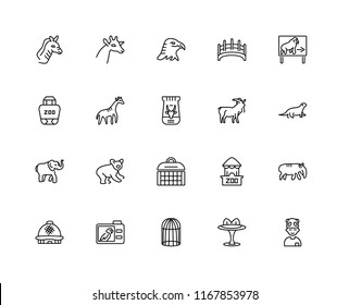 Set Of 20 linear icons such as Kid, Table, Cage, Camera, Dome, Animal, Goat, Carrier, Elephant, Giraffe, Eagle, editable stroke vector icon pack