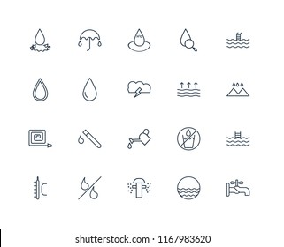 Set Of 20 linear icons such as Faucet, Waves, Sprinkler, Percent, Temperature, Swimming pool, Evaporation, Watering, Fire Hose, Drop, Water, editable stroke vector icon pack
