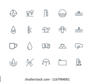 Set Of 20 linear icons such as Shower, Water Container, Umbrella, Percent, Drop, Swimming pool, Sprinkler, Delivery truck, Mug, Temperature, editable stroke vector icon pack