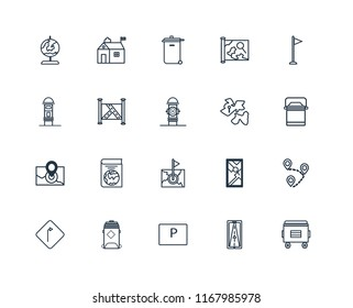 Set Of 20 linear icons such as Recycle bin, Gps, Parking, Recycling Turn, Flag, Africa, Map, Radar, editable stroke vector icon pack