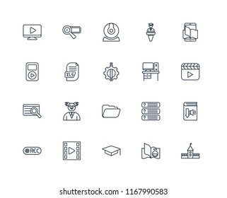 Set Of 20 linear icons such as University, Science book, Mortarboard, Video player, Record, Ebook, Desk, Folder, Search, Xls, Webcam, editable stroke vector icon pack