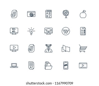 Set Of 20 linear icons such as Video player, Smartphone, Folder, Homework, Laptop, Apple, Wikipedia, Professor, Idea, Vocabulary, editable stroke vector icon pack