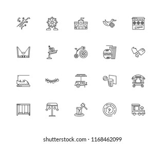 Set Of 20 linear icons such as Train, Labyrinth, Whack a mole, Swing, Shooting Gallery, Fast food, Popcorn Shop, Bumper car, Fair Ship, Castle, editable stroke vector icon pack