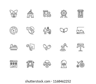 Set Of 20 linear icons such as Antique Bicycle, Bumper car, Shooting game, Ferris wheel, Gallery, Circus, Whack a mole, Labyrinth, editable stroke vector icon pack