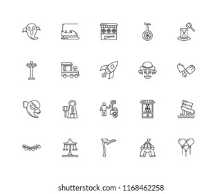 Set Of 20 linear icons such as Balloons, Circus, Flag, Swing, Flags, Whack a mole, Clown, Ice cream, Ghost, Train, Shooting Gallery, editable stroke vector icon pack