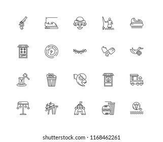 Set Of 20 linear icons such as Water rollerball, Fast food, Circus, Roller Coaster, Swing, Hidrodrom, Ice cream, Ghost, Whack a mole, Labyrinth, Clown, editable stroke vector icon pack