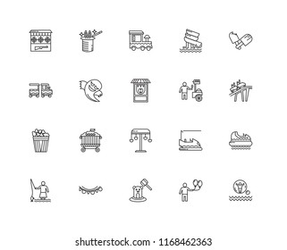 Set Of 20 linear icons such as Water rollerball, Balloon, Whack a mole, Flags, Game, Ice cream, Swing, Popcorn, Ghost, Train, editable stroke vector icon pack