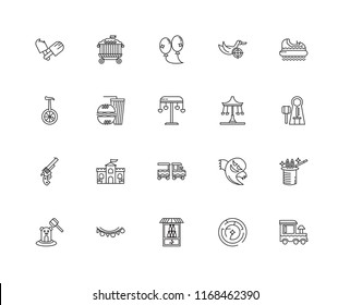 Set Of 20 linear icons such as Train, Labyrinth, Bottle, Flags, Whack a mole, Hidrodrom, Swing, Revolver, Fast food, Balloons, editable stroke vector icon pack