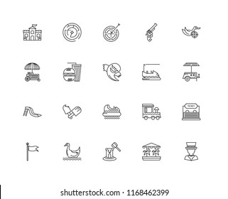 Set Of 20 linear icons such as Magician, Carousel, Whack a mole, Pedal boat, Flag, Duck Shooting, Bumper car, Hidrodrom, Slide, Fast food, Darts, editable stroke vector icon pack