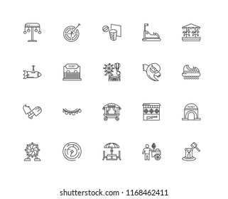 Set Of 20 linear icons such as Whack a mole, Hidrodrom, Carousel, Bump Car, Ferris wheel, Darts, Shooting Gallery, Rocket, editable stroke vector icon pack