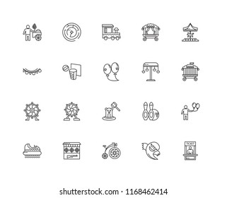 Set Of 20 linear icons such as Ticket Office, Ghost, Antique Bicycle, Shooting Gallery, Hidrodrom, Carousel, Swing, Whack a mole, Ferris wheel, DUNK, Train, editable stroke vector icon pack