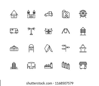 Set Of 20 linear icons such as House On Wheels, Townhouse, Factory, Chair and table, Aparment, Ferris wheel, Swing, Wigwam, Yurt, Street lamp, Car, editable stroke vector icon pack