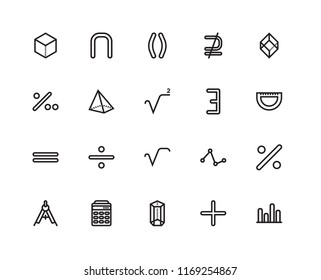 Set Of 20 linear icons such as Semicircle with ruler, Hexagonal prism shape, Calculator maths tool, Percent for hund, Square root, editable stroke vector icon pack