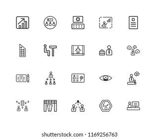 Set Of 20 linear icons such as Worker, Speaker, Leader, Racing, Visitor, Newspaper, Businessman, Human resources, Agreement, Meeting, Coding, editable stroke vector icon pack
