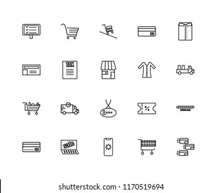 Set Of 20 linear icons such as Payment, Cart, Mobile, Sales, Shirt, Dress, Card, Tax, Delivery, editable stroke vector icon pack