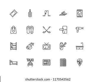 Set Of 20 linear icons such as Restaurant, Hotel, Minibar, Taxi, Bed, Washing machine, Exit, Television, Bunk, Flip flops, Room, editable stroke vector icon pack