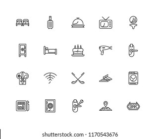 Set Of 20 linear icons such as Bar, Map, Room key, Safebox, Minibar, Golf, Hairdryer, Restaurant, Bed, Reception, editable stroke vector icon pack