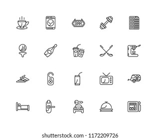 Set Of 20 linear icons such as Minibar, Reception, Rent a car, Door key, Bed, Hotel, Golf, Soda, Hanger, Champagne, Bar, editable stroke vector icon pack