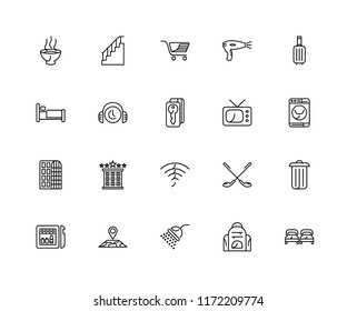 Set Of 20 linear icons such as Beds, Backpack, Shower, Map, Minibar, Suitcase, Television, Wifi, Hotel, Customer service, Trolley, editable stroke vector icon pack