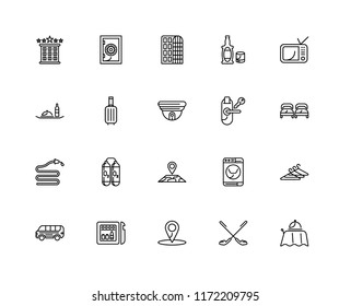 Set Of 20 linear icons such as Room service, Golf, Location, Minibar, Bus, Television, key, Map, Hose, Suitcase, Hotel, editable stroke vector icon pack