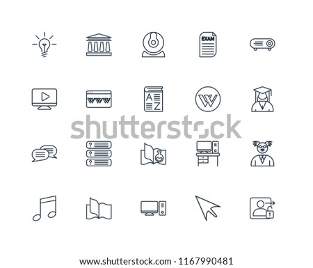 Set 20 Linear Icons Such Login Stock Vector (Royalty Free