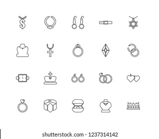 Set Of 20 linear jewelry icons such as Crown, Necklace, Ring, Bracelet, Diamond, Earrings, Watch, Earring, editable stroke vector icon pack
