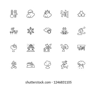 Set Of 20 linear meterology icons such as Thunder Storm, Windy Earth, Autumn, Windy, Woods On Fire, Full moon, Broken Tree by Thunder, Spring, editable stroke vector icon pack