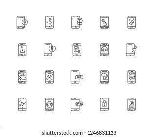 Set Of 20 linear Mobile app icons such as Money, Key, Delivery truck, Commerce, Sharing, Email, Music player, Digital clock, Gps, 3g, Gift, editable stroke vector icon pack