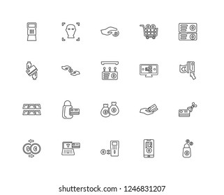 Set Of 20 linear Payment methods icons such as Purse, method, Discount voucher, Shopping cart, Exchange, Facial recognition, Cit card, editable stroke vector icon pack