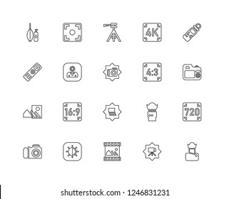 Set Of 20 linear Photography icons such as Lens, Video camera, Picture, Exposure, Photo Light meter, Aspect, Gallery, Blur, User, Tripod, editable stroke vector icon pack