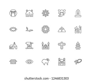 Set Of 20 linear religion icons such as Cross, Monastery, Lamb, God, Shinto, Commandments, Pope, Synagogue, Holy scriptures, Buddhism, editable stroke vector icon pack